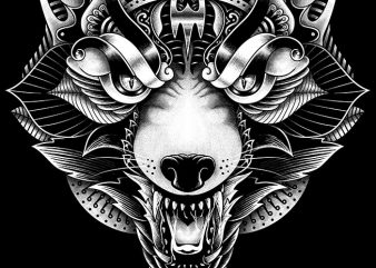 Wolf Angry Ornate design for t shirt