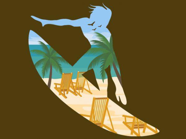 Beach Surfing Tshirt Design