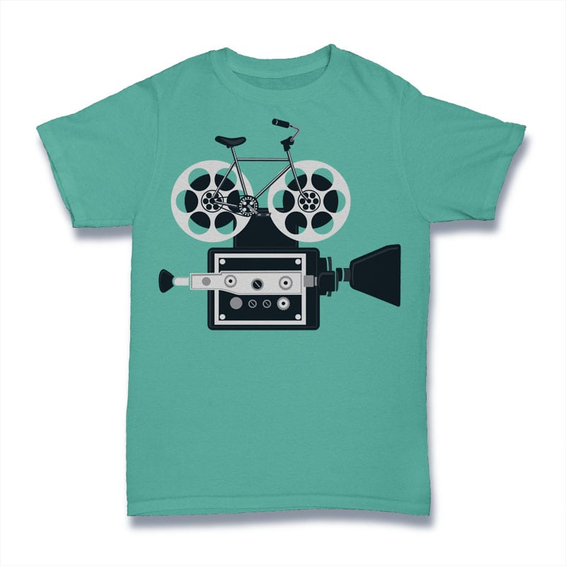 Bicycle Roll Film Tshirt Design buy t shirt design