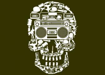 Boombox Skull Tshirt Design