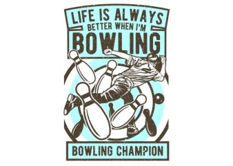 Bowling Champion Graphic t-shirt design