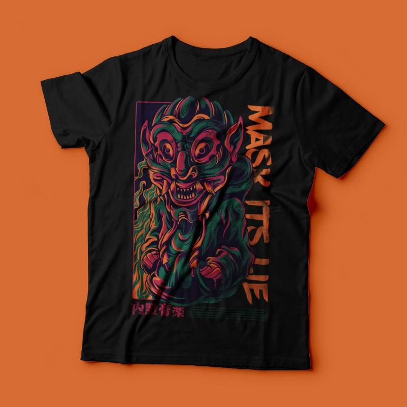 Mask its Lie T-Shirt Design t shirt designs for printify
