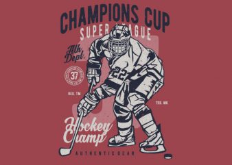 Champions Cup Hockey Graphic t-shirt design