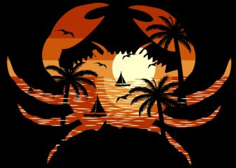 Crab Beach t shirt vector file
