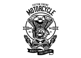 Custom Engine Motorcycle Tshirt Design