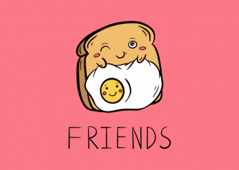 Cute friends toast and egg doodle graphic t shirt design