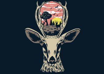 Deer Nature Tshirt Design