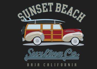 Sunset Beach Surfing t shirt template vector