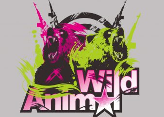 Wild Animal t shirt design for sale