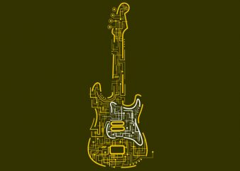 Electric Guitar print ready vector t shirt design