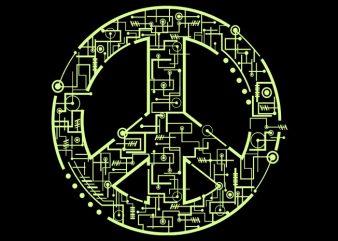 Electric Peace Tshirt Design