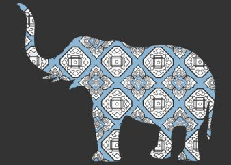 Elephant Blue Ornament Tshirt Design