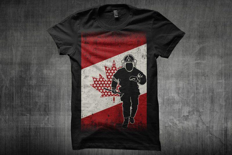 Canadian Fireman Flag buy tshirt design