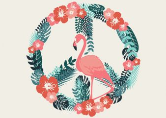 Flamingo Peace Tshirt Design