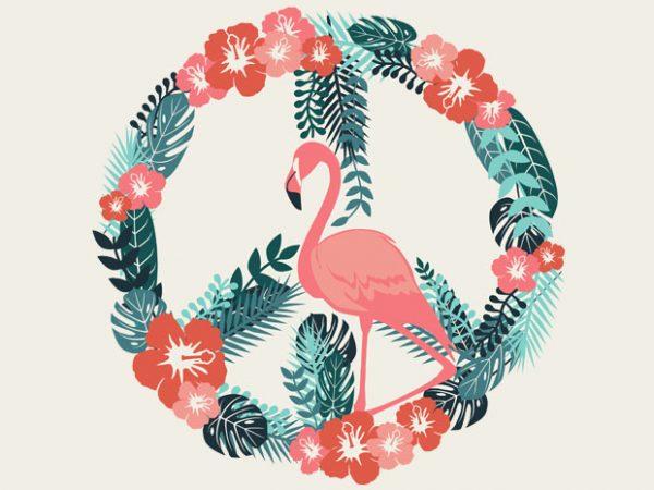 Flamingo Peace Tshirt Design