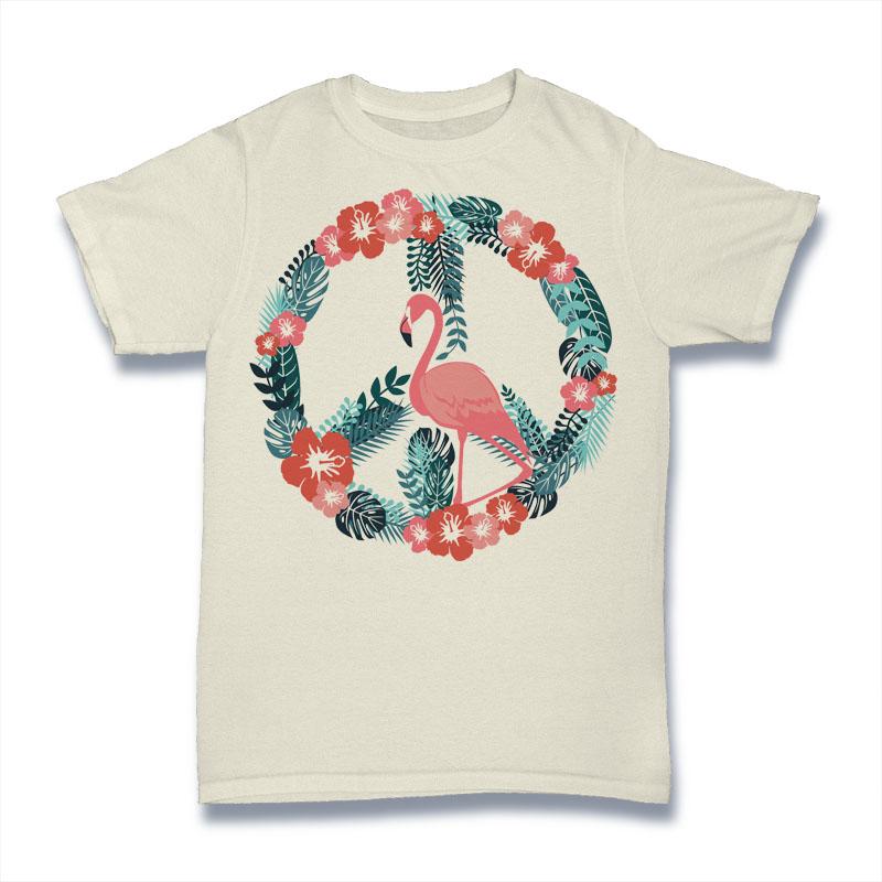 Flamingo Peace Tshirt Design tshirt factory