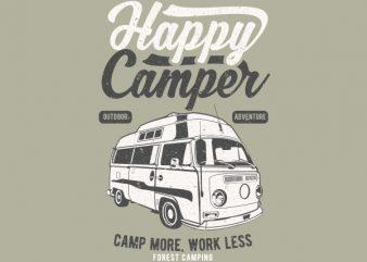 Happy Camper Graphic t-shirt design