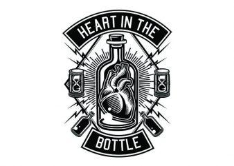 Heart In The Bottle Tshirt Design