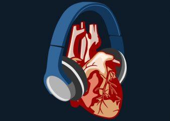 Heart Headphone Tshirt Design