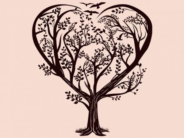 Heart Tree Tshirt Design