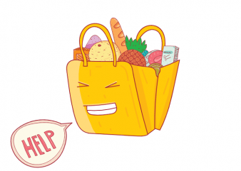 Help funny saying bag with groceries hand drawn t shirt printing design