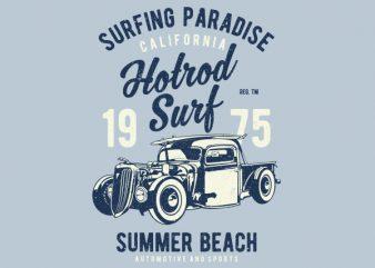 Hotrod Surf Graphic t-shirt design