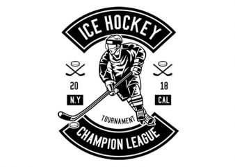 Ice Hockey Champion League Tshirt Design