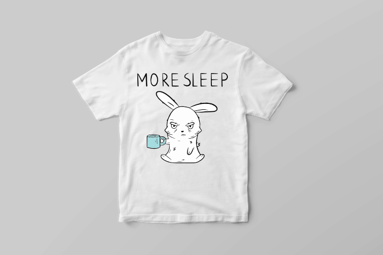 More sleep coffee addicted bunny in a bad mood graphic t shirt design vector t shirt design