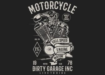 Motorcycle Full Speed Engine Vector t-shirt design
