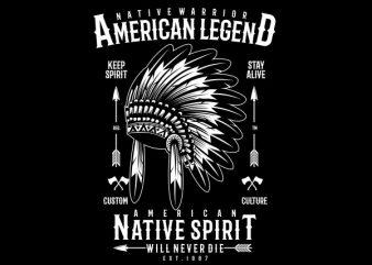 Native Warrior Vector t-shirt design