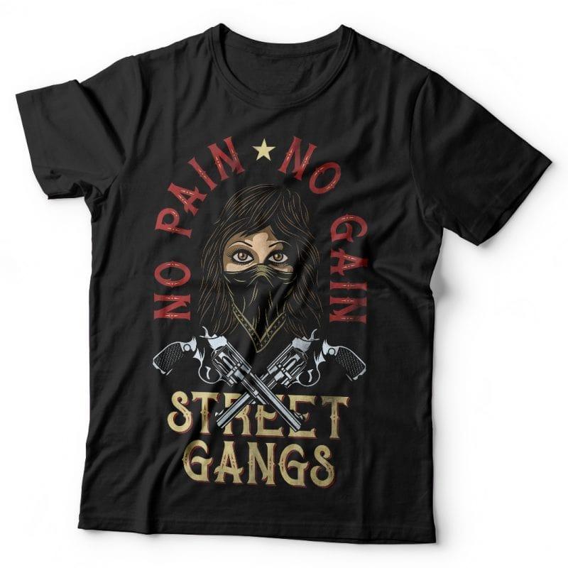 No pain No gain. Vector T-Shirt Design commercial use t shirt designs
