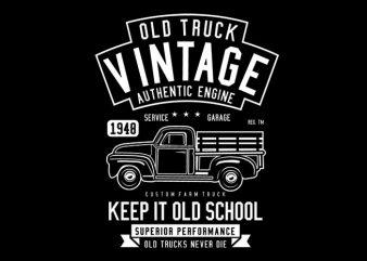 Old Truck Vintage t shirt design for sale