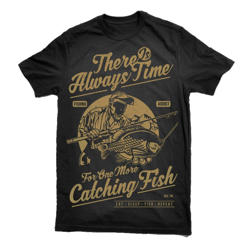 One More Catching Fish Graphic t-shirt design t shirt designs for print on demand