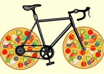 Pizza Bike Tshirt Design