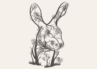 Rabbit Tree Tshirt Design