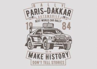 Rally Paris Dakar Automobile Vector t-shirt design