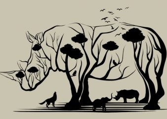 Rhino Tree Tshirt Design