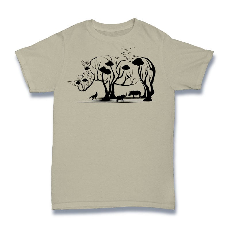 Rhino Tree Tshirt Design t shirt designs for sale