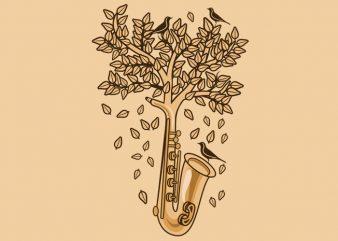 Saxophone Tree Tshirt Design