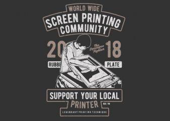 Screen Printing Community t shirt template vector