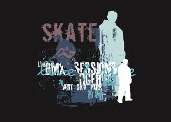 Skater Sessions print ready vector t shirt design