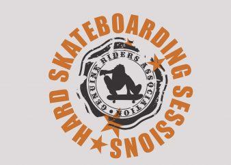 Hard Skateboarding tshirt design vector