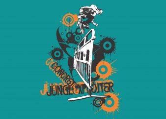 Concrete Skater t shirt vector file
