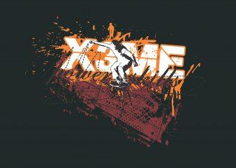 Power Skill SKateboard t shirt illustration