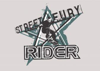 Street Eury Rider Skateboard graphic t-shirt design
