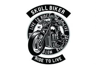 Skull Biker Tshirt Design