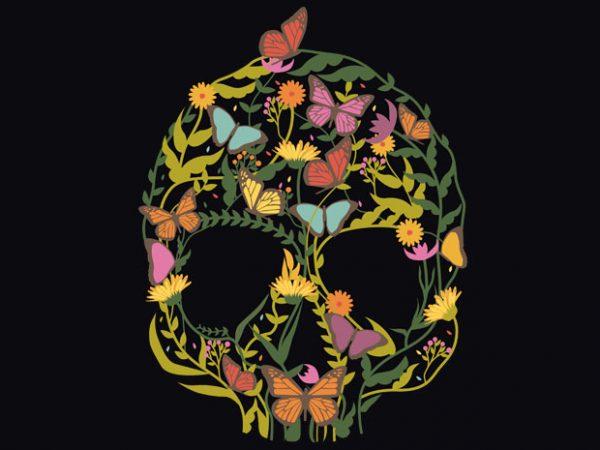 Skull Flower Tshirt Design