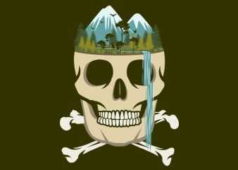Skull Waterfall Tshirt Design