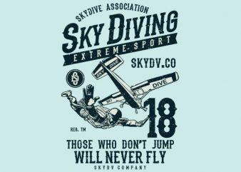 Sky Diving Vector t-shirt design