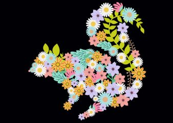 Squirrel Flower Tshirt Design